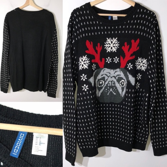 774606974d5f H&M Sweaters | H M Christmas Sweater Size Xl Pug Antlers | Poshmark